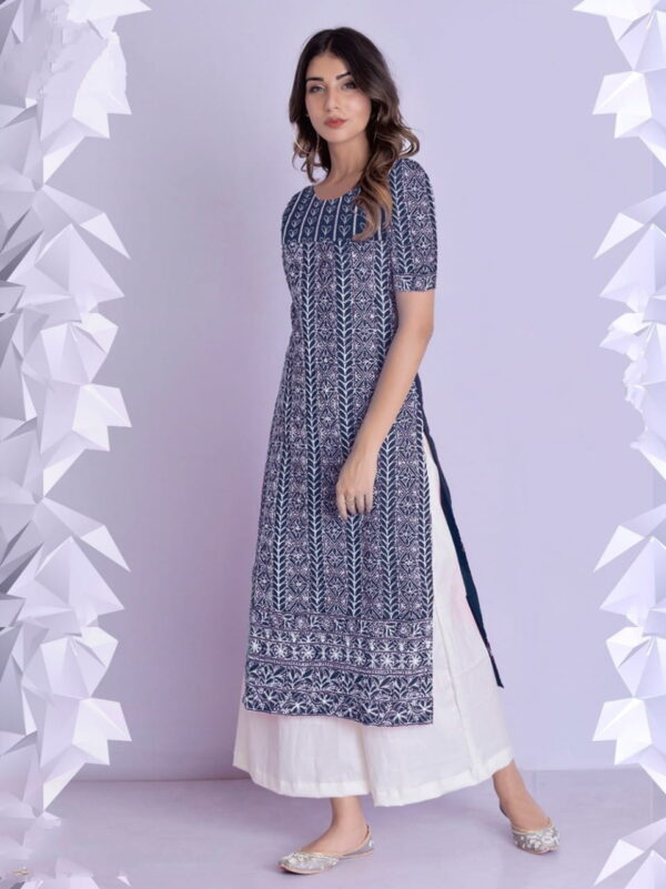 Navy Blue Color Full Stitched Thread Work Rayon Cotton Fancy Plazo Kurti For Wear