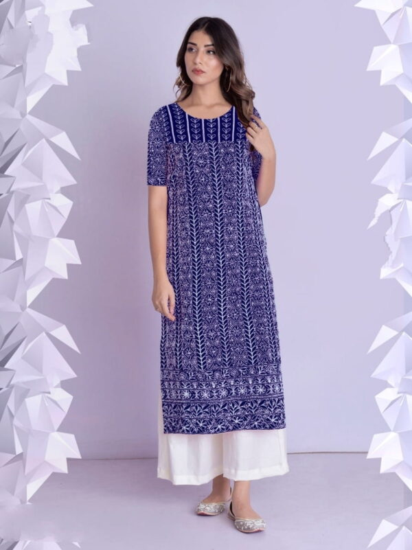 Royal Blue Color Cotton rayon Fancy Thread Work Festive Wear Full Stitched Plazo Kurti For Women
