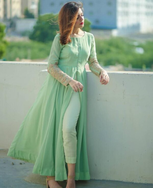 Sea Green Color Full Stitched American Silk Thread Coding Diamond Hand Work Kurti Pent For Wedding Wear