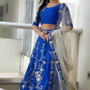 Blue Color Function Wear Embroidered Work Beautiful Banglori Silk Designer Lehenga Choli For Women