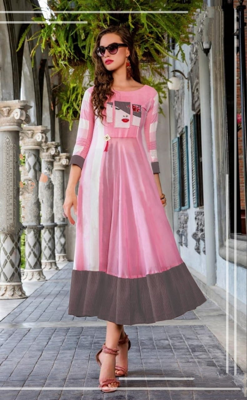 Pink Color Full Stitched Cotton Fancy Digital Printed Wear Kurti