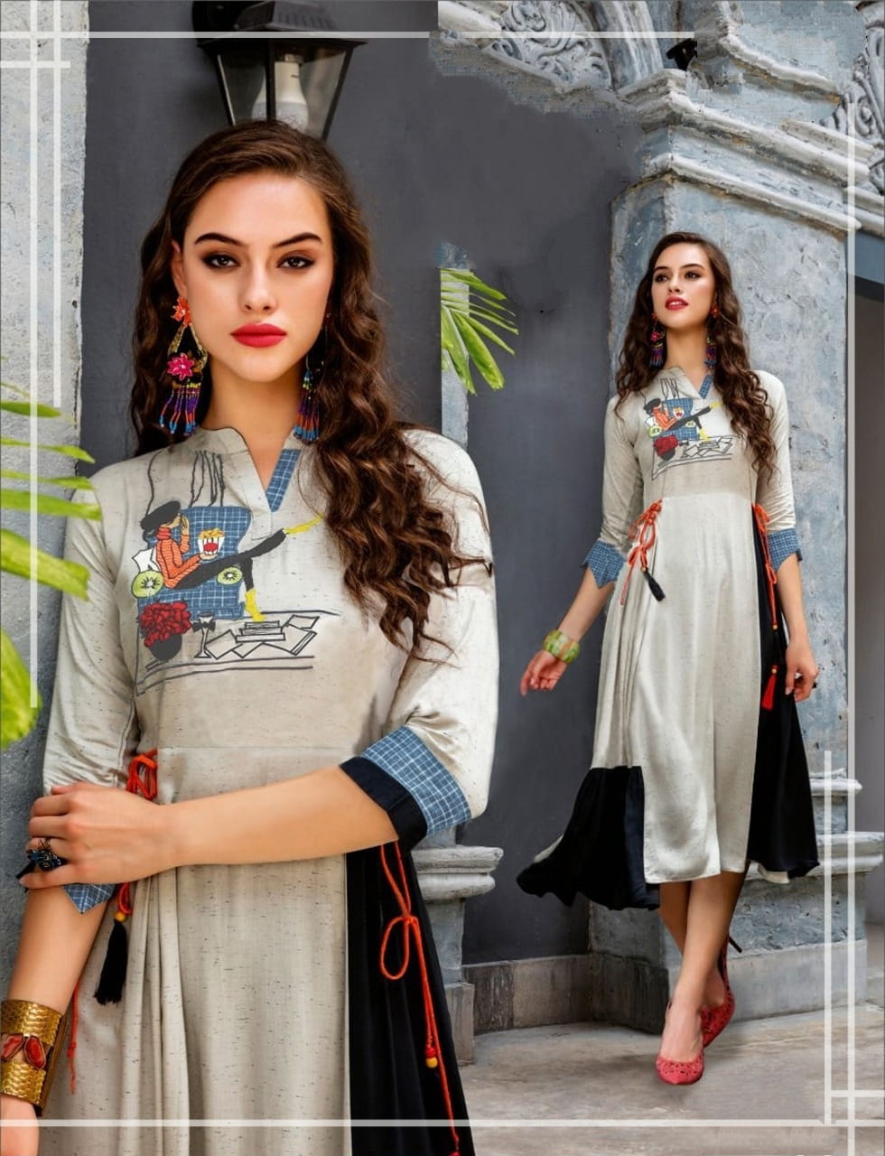 Grey Color Party Wear Ready Made Digital Printed Beautiful Cotton Kurti For Women