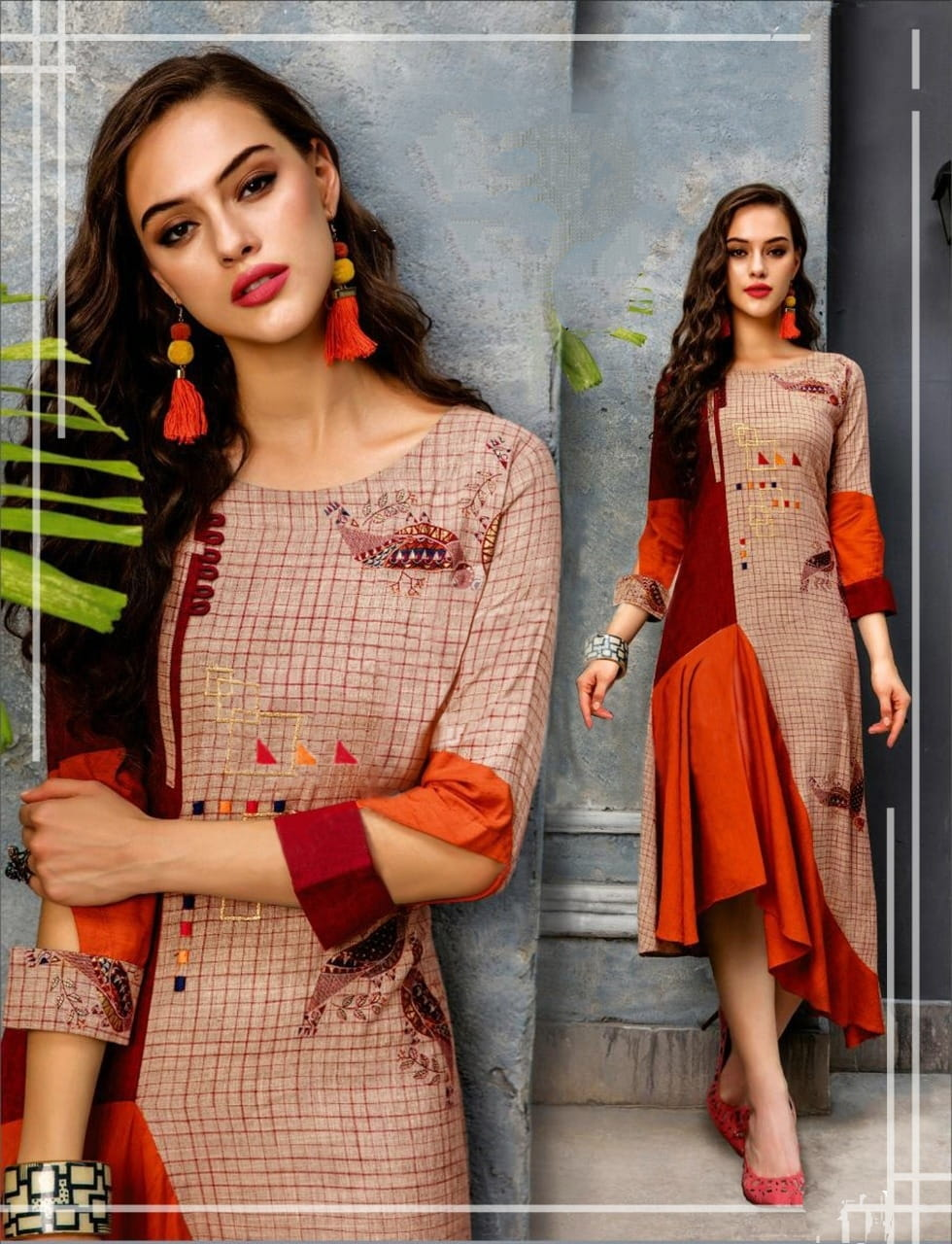 Maroon Color Designer Digital Printed Full Stitched Cotton Kurti For Party Wear