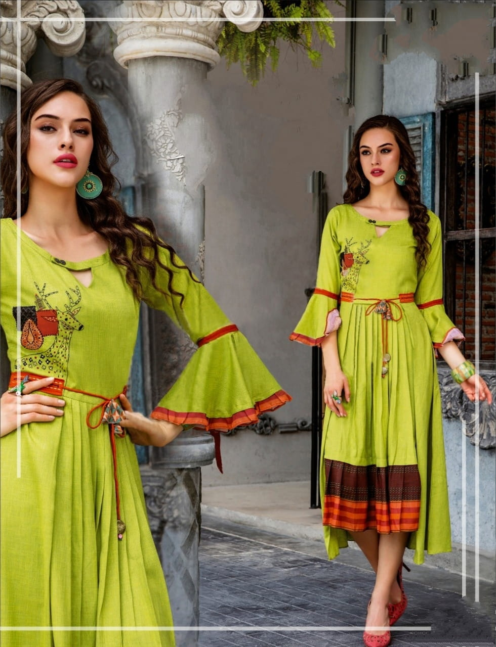 Green Color Function Wear Ready Made Cotton Fancy Digital Printed Kurti