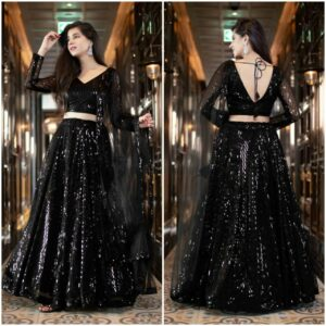 Black Color Designer Wedding Wear Heavy Net Thread Sequence Embroidered Work Lehenga Choli