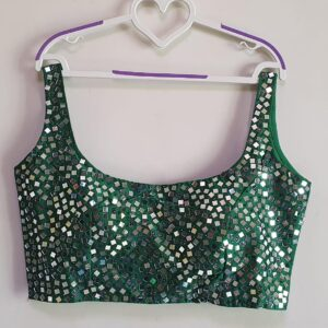 Dark Green Ready Made Fentam Silk Real Mirror Led Stone Hand Work Beautiful Wedding Wear Blouse